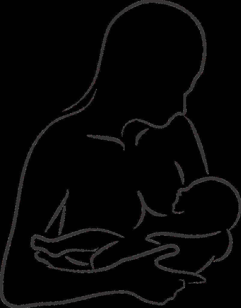 Una mamma allatta al seno il suo neonato, garantendogli il nutrimento migliore